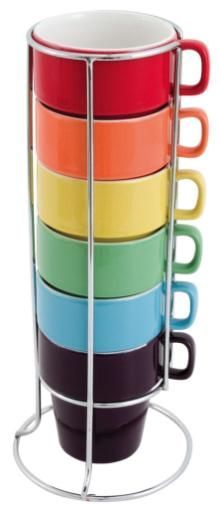 Rainbow Tower Coffee Cup Set, they have egg cups and expresso cups.