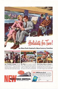 1948 ad New York Central railroad train Holidate for Two vintage travel.