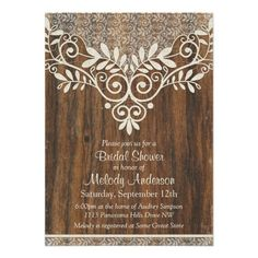 "unique ivory lace and wood rustic vintage bridal shower invitation. these 5""x7"" bridal shower invitations have customizable text and come with envelopes $1.80 per invitation. volume discounts available."