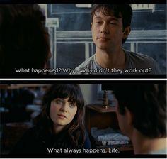Tom: Qué ocurrió? Por qué no funcionó con ellos? Summer: Lo que siempre pasa, la vida. #500daysofsummer