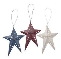 3D Red, White & Blue Folk Star Set