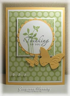 Stampin' Everything!: Thinking of Saffron and Pears - Sincere Salutations & Just Believe Stamp sets - Beautiful Wings Embosslit