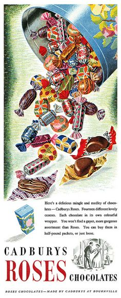 Vintage Advertising : 1952 Cadbury's Roses ad with pretty wrappers Vintage Advertising Campaign 1952 Cadbury's Roses ad with pretty wrappers Advertisement Description 1952 Cadbury's Roses ad with pretty wrappers Sharing is love ! Vintage Sweets, Vintage Candy, Vintage Tins, Retro Vintage, Vintage Food, Retro Sweets, Vintage Cooking, Vintage Ephemera, Cadbury Chocolate