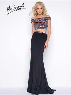 Black size 8 @ LavishBoutique http://www.wvlavishboutiqueTwo Piece Geometric Beaded Prom Dress | Mac Duggal 40605A