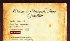 Victorian & Steampunk Name Generator Cool Writing, Writing Help, Creative Writing, Writing Prompts, Writing Tips, Story Inspiration, Writing Inspiration, Character Name Generator, Birthday Scenario