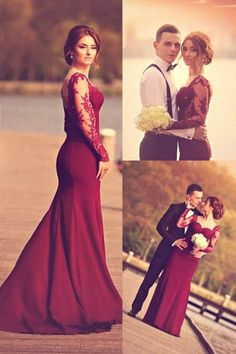 Elegant Long Prom Dress/Evening Dress - Long Sleeves Mermaid with Lace