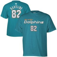 Reebok Brian Hartline Miami Dolphins Youth Primary Name and Number T-Shirt - Aqua