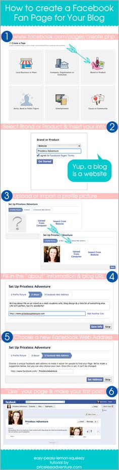 How to Create a Facebook Fan Page for Your Blog    by @Katie Price    http://www.pricelessadventure.com/2012/06/how-to-create-facebook-fan-page-for.html