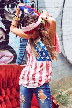 DISTRESSED AMERICAN FLAG TANK - Tan | Shop this at www.hauteandrebellious.com