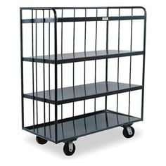 "Bulk Stock Cart, 2000 lb., 30 In. L, Gray by Durham. $792.96. Bulk Stock Cart, Load Capacity 2000 lb., Number of Shelves 4, Shelf Width 30 In., Shelf Length 60 In., Overall Length 60 In., Overall Width 30 In., Overall Height 58 In., Distance Between Shelves 14 In., Caster Type (2) Swivel, (2) Rigid, Construction Steel, Gauge 14, Powder Coat FinishCaster Material Polyurethane, Caster Dia. 6 In.Color Gray Bulk Stock CartsDurham3 shelves are sloped by 1"" from front to rear and bas..."