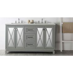 Legion Furniture 60 Warm Gray Double Sink Vanity with Quartz Top Grey, Size Double  Vanities. Bathroom ...