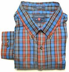 Men's Saddlebred Big & Tall Plaid Blue, Rust, Black & White LS Shirt   #Saddlebred #ButtonFront