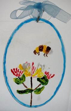 Suncatcher, hand painted with honeysuckle and a bee £7.50