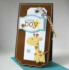 giraffe It's a Boy Card - invitaciones tarjetas baby shower ♛ Baby Boy Cards, New Baby Cards, Baby Shower Cards, Scrapbook Bebe, Scrapbook Cards, Tarjetas Diy, Baby Shower Invitaciones, Cricut Cards, Card Tags