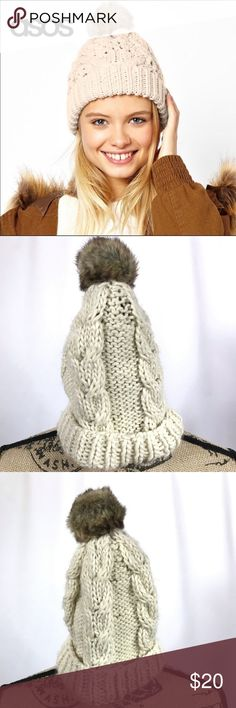 Swell Whistler Cable Pom Womens Headwear Beanie Hat Musk One Size