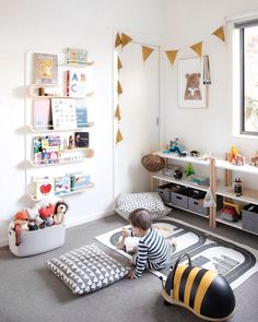 Playroom with Rafa-kids XL shelf: fa-.Ollie's Playroom with Rafa-kids XL shelf: fa-. Quarto infantil tem parede com lambris de madeira e estante branca. Playroom Design, Playroom Decor, Kids Room Design, Playroom Ideas, Playroom Shelves, Kids Decor, Book Shelves, Ikea Spice Rack Bookshelf, Boy Decor