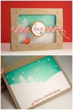Lawn Fawn - Peace Joy Love, Stitched Journaling Card Lawn Cuts _ pretty window card by Yainea