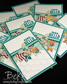 I just love these cards by Bekka!  Oh Hello and Welcome to the Stampin' Superstars - Cards Sent by Stampin' Up! Demonstrator Bekka Prideaux to new team members.  Find Out more here.  The card features the free Sale-a-Bration Sycamore Street papers and ribbons as well as the Oh Hello Stamp Set and Honeycomb Embossing Folder