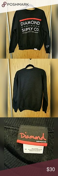 Diamond Supply Co. Roots Crewneck Sweatshirt Features city names, diamond logo on sleeve and label on bottom hem. Lightly used, has been washed so it is already shrunk.  I believe it is a mens medium, so would fit womens med or large 80% cotton 20% polyester Diamond Supply Co. Shirts Sweatshirts & Hoodies