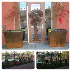 The Goddard School located in Reno II, NV loves to upcycle! Donated metal scraps were melted down to create two planter boxes and the metal art on the door. In addition, the School expanded their garden and created an outdoor xylophone with recycled PVC pipe and wood scraps.