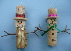 Pair of Wine Bottle Cork Christmas Tree Ornaments by lulin