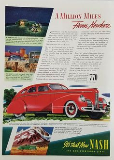 1939 Nash 4 Door Sedan Red Vintage Ad - A Million Miles From Nowhere