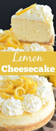 Lemon Cheesecake is a bright and beautiful dessert for the spring and summer season. Each layer packs a lemon flavored punch and it goes so nice with the smooth and luscious cheesecake filling… Lemon Recipes, Summer Recipes, Sweet Recipes, Easy Recipes, Amazing Recipes, Frozen Cheesecake, Best Cheesecake, Cheesecake Recipes, Homemade Sour Mix