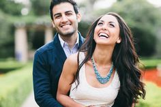 """Laughing engagement photos. The settings don't look like """"us"""" but I love their facial expressions in these pictures, natural and fun."""