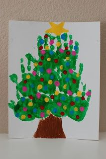 Handprint Tree -- great gift for Grandma with all the Grandkids!!! @Rachel Morrow @Nicole Novembrino Novembrino Garner Coon :-) Pinkie for Pink: Kids Christmas Art Projects