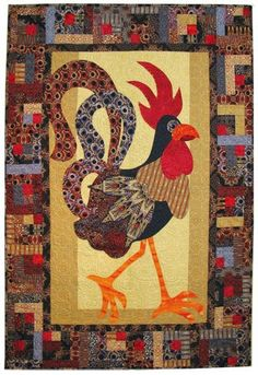 = free pattern = Jaunty Rooster quilt for Benartex Small Quilts, Mini Quilts, Quilting Projects, Quilting Designs, Quilting Tutorials, Pach Aplique, Vogel Quilt, Quilt Inspiration, Chicken Quilt