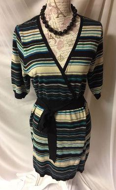 ANA Short Slv Stretch Knit Criss Cross Dress L #ana #CrissCross