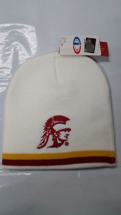 NCAA USC Trojans University of Southern California Team White Uncuffed Knit Beanie Cap
