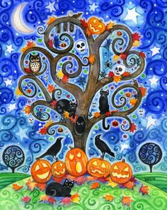 Halloween Tree  8x10 Colorful Autumn Tree by BlueLucyStudios,