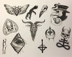 flash sheet for our weekend flash special! Oct noon to first come first serve, no appointments, so get here early! Tattoo P, 13 Tattoos, Black Ink Tattoos, Dark Tattoo, Unique Tattoos, Body Art Tattoos, Small Tattoos, Sleeve Tattoos, Satanic Tattoos