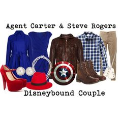 """""""Agent Carter and Steve Rogers Disneybound"""" by capamericagirl21 on Polyvore"""