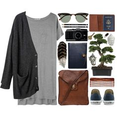 Leather by vv0lf on Polyvore featuring T By Alexander Wang, Monki, Converse, Campomaggi, Ray-Ban, Mason Pearson, Nearly Natural, Coach, Cyan Design and TOMS