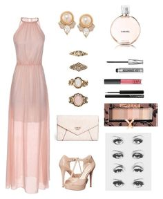 """Halter dress"" by klionasopoulou on Polyvore featuring Jessica Simpson, GUESS, Carolee, Forever 21, Chanel, Bare Escentuals, NARS Cosmetics, NYX, Physicians Formula and Dressunder50"
