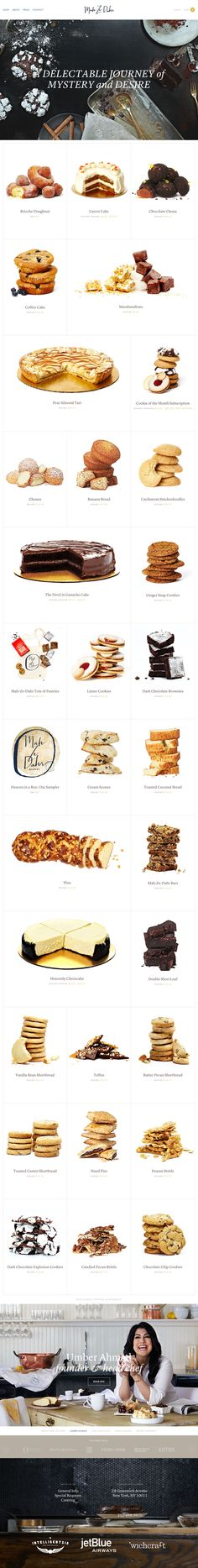 E-commerce integrated One Pager for a new bakery called 'Mah Ze Dahr'. The responsive adaption spans a big screen well and works great on mobile. The One Page website is filled with gorgeous images of the food - each with additional info in an overlay modal including commerce functionality like add-to-cart. Great to have another E-commerce One Page website added to the collection.