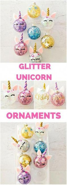 Find out how to easily glitter ornaments and turn… DIY Glitter Unicorn Ornaments. Find out how to easily glitter ornaments and turn them into unicorns. Unicorn Ornaments, Glitter Ornaments, Diy Christmas Ornaments, Homemade Christmas, Christmas Fun, Holiday Crafts, Christmas Decorations, Unicorn Christmas Ornament, Diy Kids Christmas Gifts