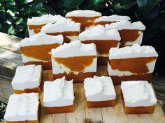 Fresh cut Pumpkin Cream handmade soap, with organic oils.