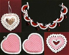 Free Patterns for Valentine's Day: sachet, kitchen set, garland, and coaster