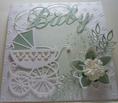 idea for something for baby Baby Boy Cards, New Baby Cards, Baby Shower Cards, Pretty Cards, Cute Cards, Marianne Design Cards, Tattered Lace Cards, Beautiful Handmade Cards, Baby Kind