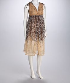 Take a look at this Beige Paisley Empire-Waist Dress by Unity on #zulily today!