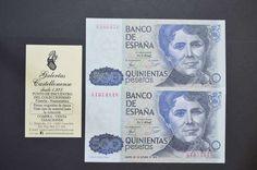 . Billetes del reinado Juan Carlos I, valor 500 pesetas, con y sin serie, plancha. representando a Rosal�a de Castro.disponemos de ejemplares de m�s o menos calidad, fluctuando precio. cualquier duda consultanos.