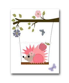 Color de rosa de bebé vivero Decor arte para niños arte niños