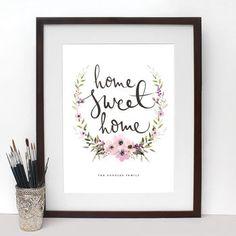 'Home Sweet Home' Wreath Print