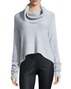 TAASY Eileen Fisher Lofty Cashmere Cowl-Neck Box Top