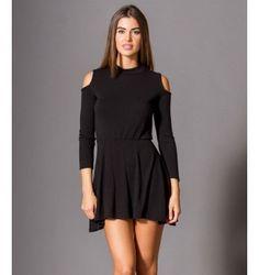 Mini Φόρεμα σε Άλφα γραμμή, με Έξω Ώμους  - Μαύρο Cold Shoulder Dress, Black, Dresses, Fashion, Vestidos, Moda, Black People, Fashion Styles, The Dress