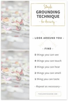 Grounding Technique for Anxiety by TheSunnyShadow.com
