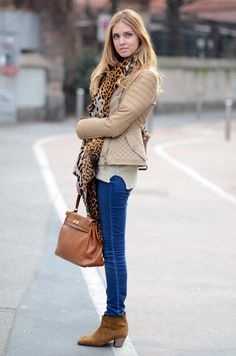 ISABEL MARANT DICKER BOOTIES  7 FOR ALL MANKIND SKINNY JEANS  CREAM SWEATER thanks to Storets.com  ARABIC NAME GOLDEN RING  BURBERRY PRORSUM CREAM LEATHER JACKET  YVES SAINT LAURENT LEOPARD SCARF  HERMES KELLY BAG 35